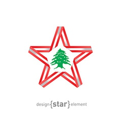 Star with lebanon flag colors and symbols design vector