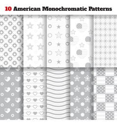 Set of monochromatic american seamless patterns vector