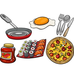 Kitchen and food objects cartoon set vector