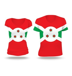 Flag shirt design of burundi vector