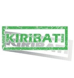 Green outlined kiribati stamp vector