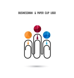 Businessman and paper clip logo design vector