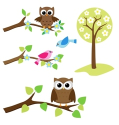 set of nature elements vector image