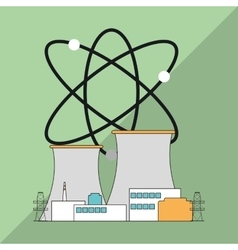 Nuclear plant design industry and factory concept vector