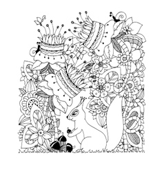 Zen Tangle squirrel with vector image