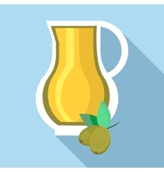 Jug of olive oil icon flat style vector