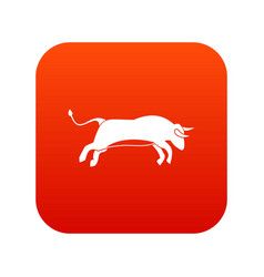 Bull icon digital red vector