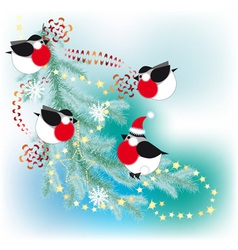 bullfinch decorate a christmas tree with garlands vector image