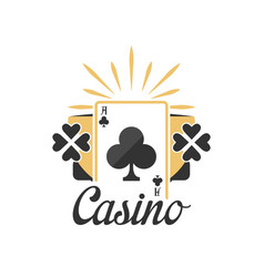 Casino logo vintage gambling badge or emblem with vector