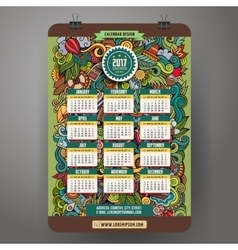 Doodles cartoon summer calendar 2017 year design vector