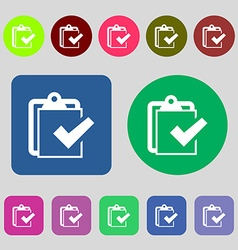 Edit document sign icon 12 colored buttons flat vector