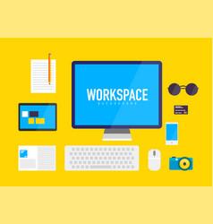 Flat design workspace background vector