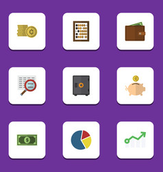 Flat icon finance set of growth strongbox vector