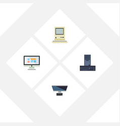 Flat icon laptop set of pc display processor and vector