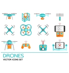 Flat icons with drones Quadrocopter hexacopter vector image