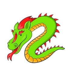 Green chinese dragon icon cartoon style vector