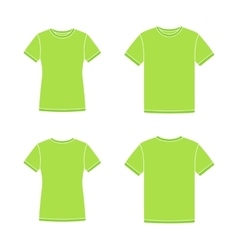 Green short sleeve t-shirts templates vector image