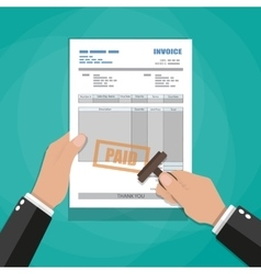 hands with stamp paper invoice form vector image