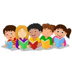 happy children lying on the floor while reading bo vector image vector image