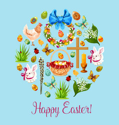 Happy easter spring holiday greeting card design vector