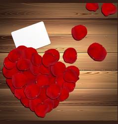 Heart of red rose petals vector