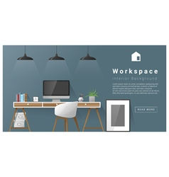 Interior design Modern workspace background 3 vector image