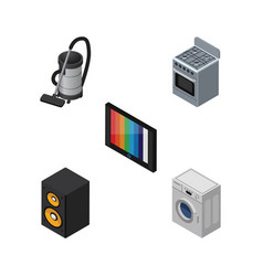 Isometric device set of stove vac television and vector