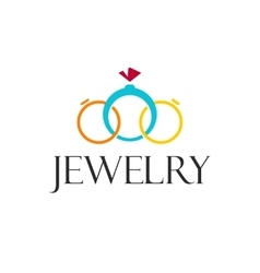 Jewelry rings logo template isolated on vector image