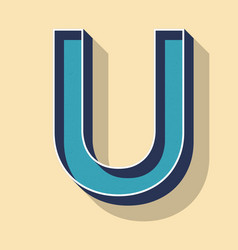 Letter u retro text style fonts concept vector