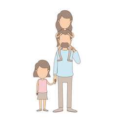 Light color caricature faceless dad with daugther vector