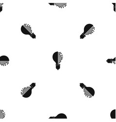 Lightbulb with microcircuit pattern seamless black vector