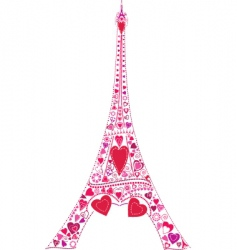 Love in eiffel tower vector