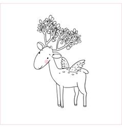Magic deer with wings vector