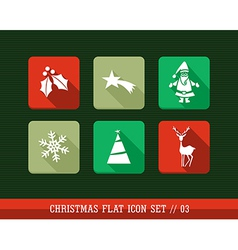 Merry Christmas colorful web apps flat icons set vector image vector image