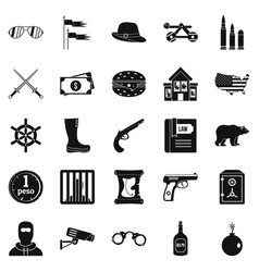 pistol icons set simple style vector image