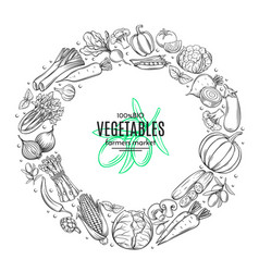 poster template frame with hand drawn vegetables vector image vector image