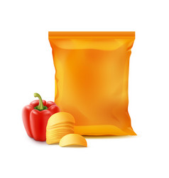 potato chips with paprika and foil bag isolated vector image