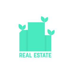 real estate logo with leafs vector image vector image