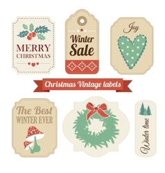 Retro set of christmas vintage gift sale labels vector image vector image