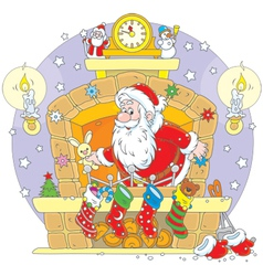 Santa in the fireplace vector
