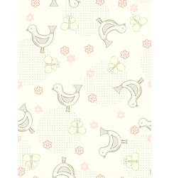 Seamless birds and butterflies background vector image