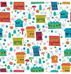 Seamless pattern of narrow houses vector image vector image