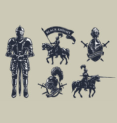Set of medieval knights mounted knights vector