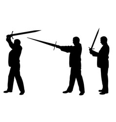 set of men with swords vector image vector image