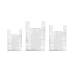 Set of white disposable plastic shopping bags vector