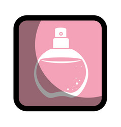 Square button with rounded glass bottle spray vector