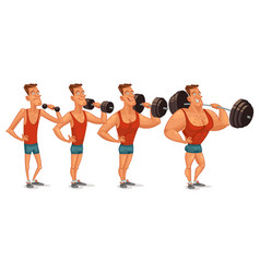 strongman shakes biceps lifting large barbell vector image vector image