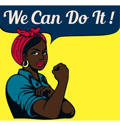 We can do it vintage poster black working woman vector