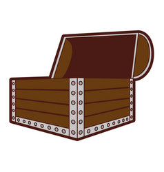 Wooden chest isolated icon vector