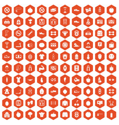 100 gym icons hexagon orange vector